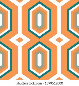 abstract hexagon backdrop style. sandy brown, teal and linen colors. seamless pattern for wallpaper, fashion garment design, wrapping paper or texture.