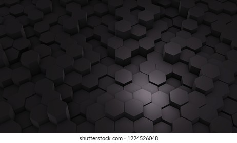 Abstract Hexagon Geometric texture. Black Surface illustration. Dark bright and clean hexagonal grid pattern Background, randomly wave in pure black wall.