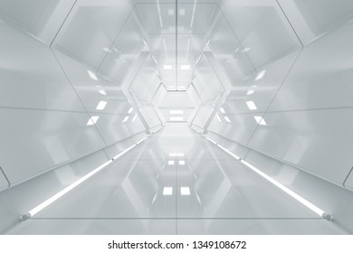 Abstract hexagon Spaceship corridor. Futuristic tunnel with light. Future interior background, business, sci-fi science concept. 3d rendering