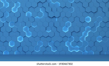 Abstract hexagonal background. 3d illustration