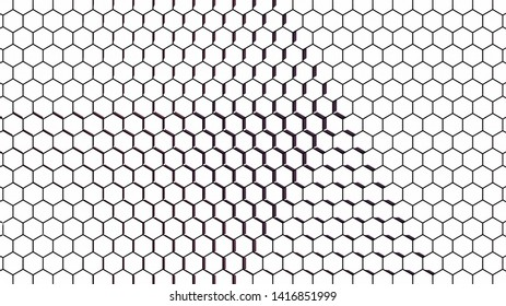 Abstract hexagonal background pattern; white honeycomb grid with shadows; 3d mosaic mesh wallpaper; illustration