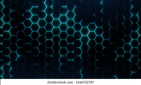 Abstract hexagonal background. Sci-fi modern texture for cyberspace concept. Neon hexagons grid.
