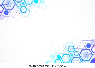 Abstract hexagonal background with waves. Hexagonal molecular structures. Futuristic technology background in science style. Graphic hex background for your design, illustration.