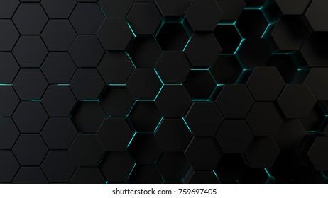 Abstract hexagonal futuristic surface