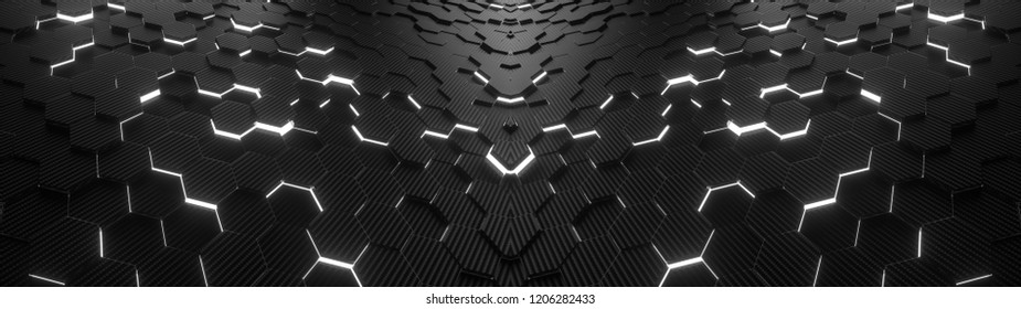 Abstract hexagonal geometric ultra wide background. Structure of lots of hexagons of carbon fiber with bright energy light breaking through the cracks. 3d rendering