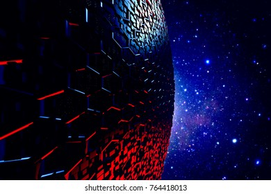Abstract hexagonal sphere science fiction space background. 3D render.
