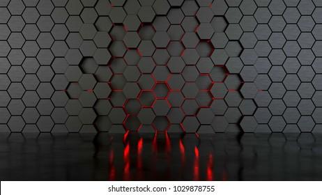 Abstract hexagonal wall, 3d illustration