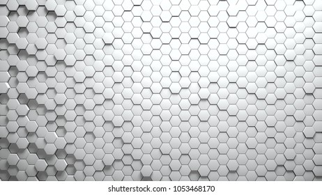 Abstract Hexagons Background white color 3d rendering