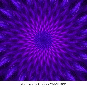 Abstract high resolution background with a detailed trippy glowing spiraling flower-like decorative pattern creating a hypnotic optical illusion, all in pink and purple and against black background