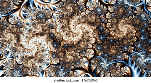 Abstract high resolution colorful background with a detailed spiral flower-like pattern in light brown and blue colors