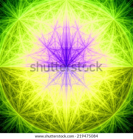 Abstract High Resolution Fractal Wallpaper With Vividly Colored Yellow Greenpinkpurple Star