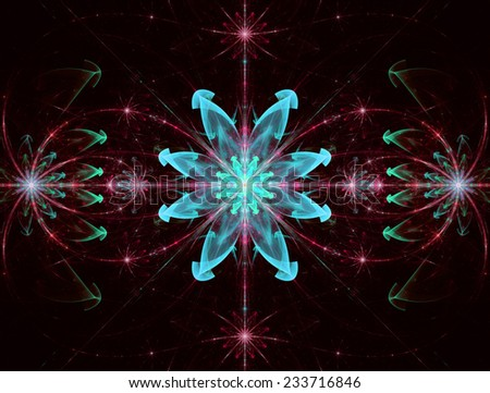 Abstract High Resolution Wallpaper With A Detailed Modern Exotic Looking Shining Blazing Star Pattern In Cyan