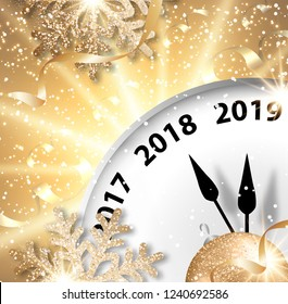 Abstract holiday 2019 New Year greeting card with clock, snow, snowflakes, ribbons and bright star