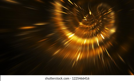 Abstract holiday background with blurred golden rays and sparkles. Fantastic neon light effect. Digital fractal art. 3d rendering.