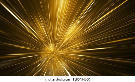 Abstract holiday background with blurred rays and sparkles. Beautiful golden light effect. Digital fractal art. 3d rendering.