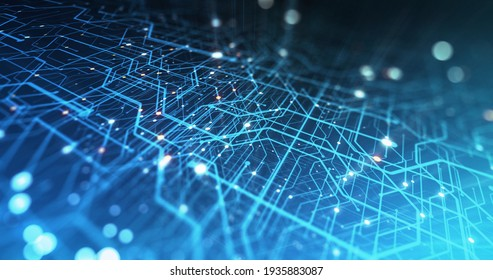 Abstract hologram 3D circuitry CPU with futuristic matrix. Digital circuit components with Colorful Digitalization Process. Data and Computational Power of Machine Learning. 3D rendering