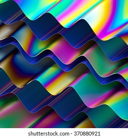 abstract holographic layers background, modern surface material, vivid wavy rainbow wallpaper, 3d illustration