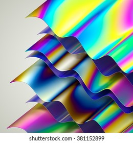 abstract holographic layers, wavy background, modern surface material, vivid rainbow wallpaper, 3d illustration