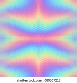 Abstract holographic seamless background. Hologram vibrant style pattern. Triangular backdrop texture. Geometric repeating wallpaper. 80s and 90s fashion design