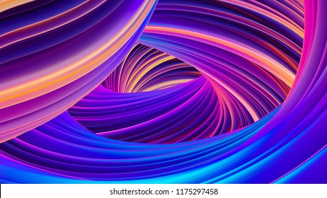 Abstract holographic wavy fluid flow background for celebration design. Iridescent neon bright colors. Liquid shapes in motion for Christmas and New Yer banners and posters. 3D rendering.