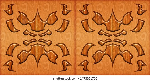 abstract home decorative art oil paint wall tiles pattern design background. Wooden tile pattern.