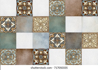 abstract home decorative art oil paint wall tiles design pattern background,