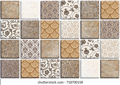 abstract home decorative art oil paint wall tiles pattern design background,