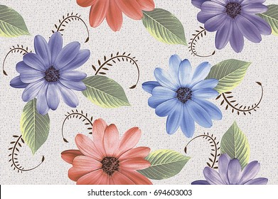 abstract home decorative flower oil paint wall tiles design pattern background,