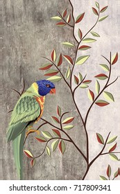 abstract home decorative parrot art oil paint wall tiles pattern design background,