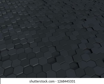 Abstract honeycomb metallic panels 3d background. Metallic dark hexagonal background. You can use it for hi-tech banners, or video design or software applications, or print purposes as you wish
