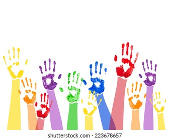Abstract horizontal background with bright multicolored paint hand prints lifted up,isolated on the white