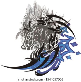 Abstract horse head with gray leaves splashes and blue ornate elements on a white backdrop
