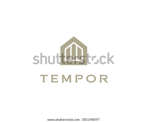 Abstract house logo design template. Premium real estate finance sign. Universal business foundation mount rock icon