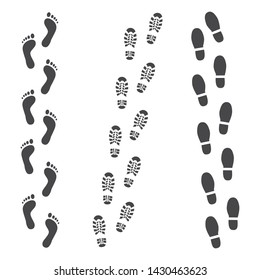 abstract human boot, or sneakers shoe footprint track icon. Black silhoette of footwear footmarks. Hiking equipment or army outdoor footwear. Isolated illustration