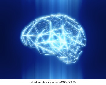 Abstract human brain from dots and lines.Polygonal brain design.3D rendering
