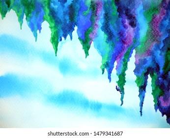 abstract human climb mountain watercolor painting illustration design