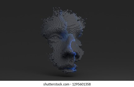 Abstract human face, 3d illustration of a head constructing from cubes, artificial intelligence concept