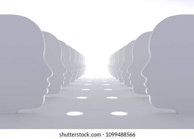 Abstract human faces illustrate interaction, 3d.