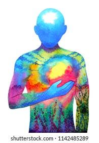 main abstraite humaine tenant un coeur soleil lune à l'aquarelle illustration dessinée à la main