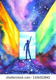 abstract human mind in universe world spiritual illustration watercolor painting design hand drawn