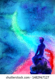 abstract human thinking spiritual mind universe power watercolor painting illustration design
