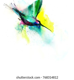 Abstract Hummingbird watercolor painting. Splashed Illustration isolated on white background. Copy space.
