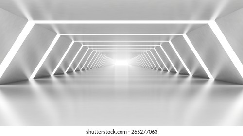 Abstract illuminated empty white corridor interior made of shining metal, 3d illustration