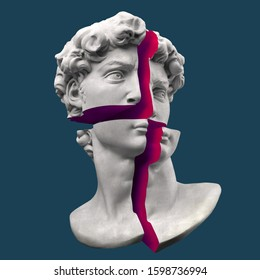 Abstract illustration from 3d rendering of pink cross cut marble bust of male classical sculpture head.