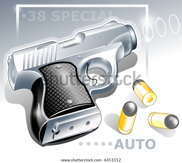 Abstract Illustration about Shooting Theme. Compact Automatic Hand Gun with Bullets