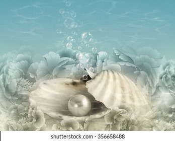 Abstract illustration background with deliberate noise in water and shallow depth of field featuring an oyster shell, pearl, water and bubbles