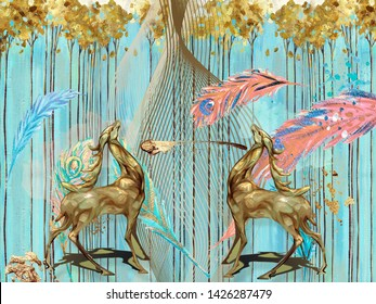 Abstract illustration, blue background, vertical lines, colorful feathers, fabulous brown deer with horns