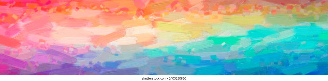 Abstract illustration of blue, red, green and yellow Oil Paint with big brush background.