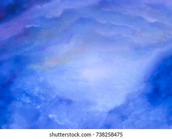Abstract illustration. Blue watercolor background like a tunnel. Handmade drawn.