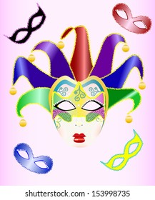 abstract illustration of a Christmas carnival mask. Raster copy
